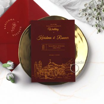 ctiy_kolkata_mostlyhandmade_goldprint_maroon_card_mostlyhandmade_wedding_invites_travel_theme_mock1