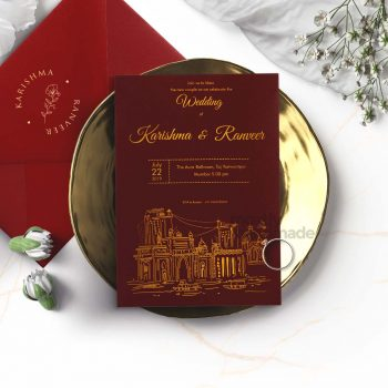 ctiy_mumbai_mostlyhandmade_goldprint_maroon_card_mostlyhandmade_wedding_invites_travel_theme_mock1