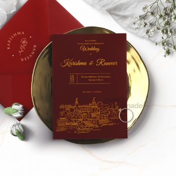 ctiy_varanasi_mostlyhandmade_goldprint_maroon_card__mostlyhandmade_wedding_invites_travel_theme_mock1